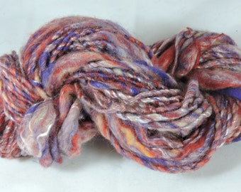 Hand spun Art Yarn - Kid Mohair Merino Tencel Thick and Red Purple 16-1-55