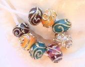 8 Handmade Lampwork Beads