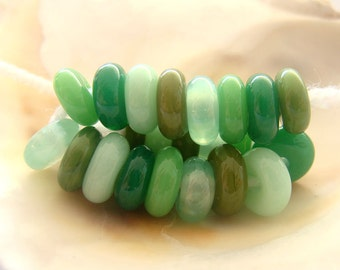 22 Green Handmade Lampwork Spacer Beads