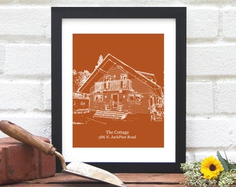 Father's Day Gift for Dad, Custom Home Illustration, Gift for Grandfather, Stepfather, Husband, Personalized House Portrait - 8x10 Art Print