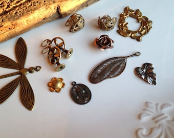 Etsy, Etsy Jewelry, Antiqued Brass, Brass Findings, Brass Charms, Destashed Beads, Dragonfly, Fan, Leaf, Bead Cap