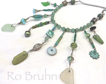 Sea Dreaming, hand made, sea glass necklace.