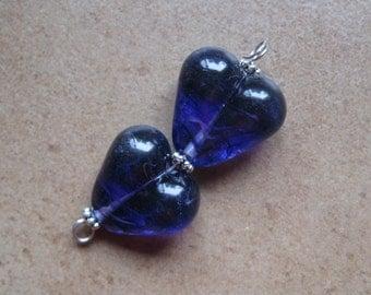 Lampwork Beads - SueBeads - Heart Beads - Purple Heart Bead Pair - Handmade Lampwork Beads - SRA M67
