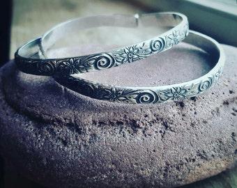 Flower and swirl sterling silver cuff bracelet, adjustable