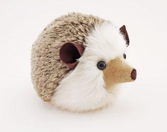 Stuffed Hedgehog Stuffed Animal Sebastian the Plush Toy Brown Hedgehog Kawaii Plushie Fuzzy Cute Cuddly Faux Fur Toy Large 6x10 Inches