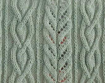 pattern for tear drop cables, leaf lattice work and bramble borders lap robe - throw