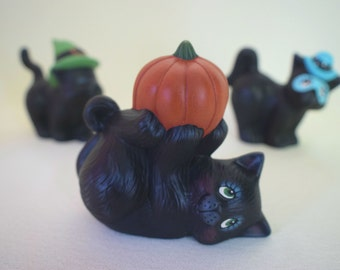 Halloween Decorations - Kitty with a pumpkin - Halloween Cat - Halloween Kitten - Black Cat - Kitten with Pumpkin - gifts under 10