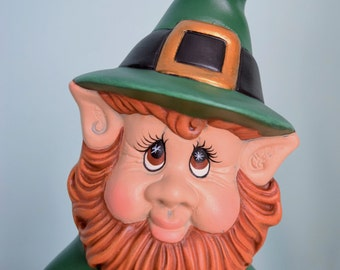 Leprechaun Statue for St Patricks Day - Irish Statue - Lucky Leprechaun - St Patricks day decor - St. Paddy's Day - Cute Ceramic Leprechaun
