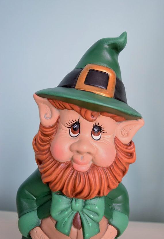 Leprechaun Statue for St Patricks Day - Lucky Leprechaun - St Patricks day decor - St. Paddy's Day - Cute Ceramic Leprechaun - Lucky