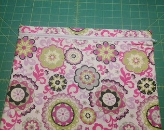 14x14 Floral lined Zippered pouch, FREE SHIPPING.