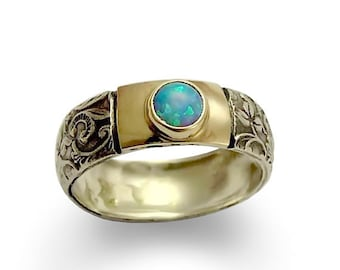 Opal ring, Silver gold ring, filigree ring, two tone ring, October birthstone Ring, two toned ring, Vine ring, stacking - Blue spirit. R1627