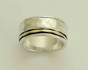 Men's Wedding band, Sterling silver band, silver gold ring, Wedding band, silver man band, unisex band, two tones ring - I Love R1149F