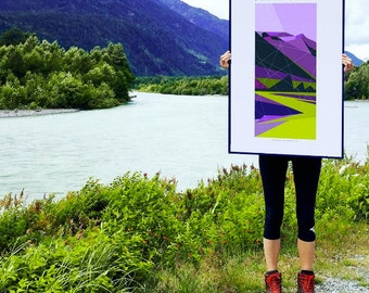 "Squamish River, Squamish Street Banners, Abstract Landscape Art Print Poster  - 24""x36"""