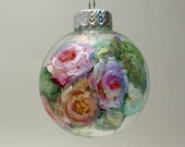 Hand Painted Christmas Ornament- Roses on Clear Glass- Original Holiday Tree Decor