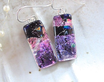 Lavender Earrings, Pink, Black, Dichroic Glass Earrings, Dangle, Fused Glass Jewelry, A11