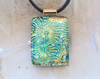 Green Necklace, Gold, Fused Dichroic Pendant, Fused Glass Jewelry, Necklace Included