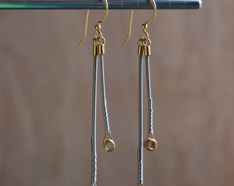 Recycled Guitar Wire Double Dangle earrings