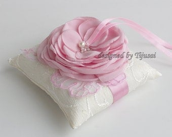 Ivory Wedding pillow with  pink Rose and embroiderings---wedding rings pillow , wedding pillow, rings cushion