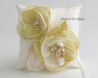 Wedding ring bearer pillow with green/ivory flowers-ring bearer, ring cushion, wedding pillow, ready to ship