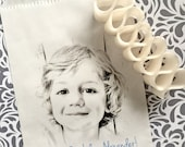 Portrait Drawing Favor bags, 1st Birthday party favor bags, Picture Candy bags, Portrait party favors,Pencil Drawing,Candy Buffet,Treat bags