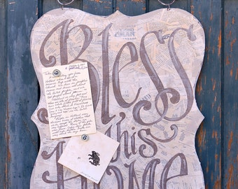Bless This Home Magnet Board - home decor - homeschool room - kitchen - mothers day