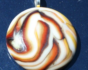 FABOLUS FALL Swirlicious Fused Glass Pendant -- Art Glass By YM
