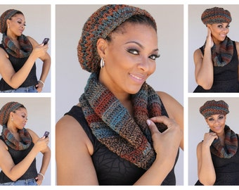 Crochet  Slouch Hat- Cap and Infinity Scarf - Cowl - Hat - Handmade Crochet Set - Autumn Colors