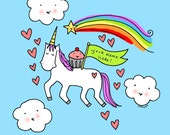 CUSTOMIZED 8x10 print with Your Name: Unicorn, cupcake, magic