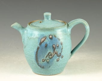 Pottery teapot in turquoise glaze 12 oz  loose leaf