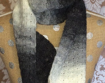 Gray Tones Handknitted Wool Blend Scarf
