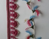 Maroon beaded lace and  assorted oya flowers