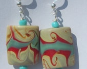 tan turquoise red swirl glass bead pierced dangle hand made wire wrapped earrings affordable unique by Ziporgiabella
