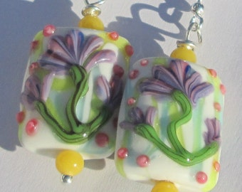 Floral Springtime Easter lavender yellow glass lampwork hand made pierced dangle wire wrapped earrings affordable unique