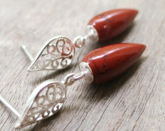 Red Jasper earrings, Teardrops, Sterling Silver, gemstone drops, filigree jewelry