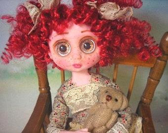 "OOAK 9"" POSEABLE Doll Inspired by Blythe & Big Eyes Susie Sad eye 1960's dolls 255SZ"