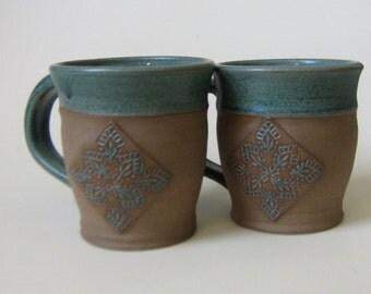 A pair of handmade rustic natural Coffee mugs mug