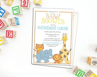 Cute Safari Animals Baby Shower Invitation, Birthday Party Invitation with envelopes, Party Invitations, Custom Invitations