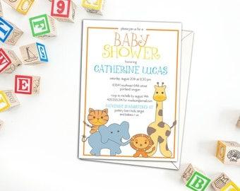 Cute Safari Animals Baby Shower Invitation, Birthday Party Invitation with envelopes, Party Invitations, Custom Invitations