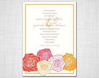 Rose Blossom Wedding Invitation, Floral Wedding, Thank you, Response Cards,Invitation, Woodcut Design Invitation, Wedding Stationery