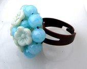 Baby Blues Ring - 1960's vintage glass flower cluster on adjustable ring - Free Shipping to USA