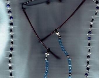 Dark Blue Heart Shaped Cat Eye Beads Necklace  with Eyeglass Chain Add-ons Womens Eyeglass Holders Necklaces Glasses Chain Holder