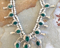 Vintage Native American crafted squash blossom necklace with malachite and nickel silver