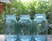 Three Vintage Blue Quart Mason Jars With Zinc Lids - Candle Lights