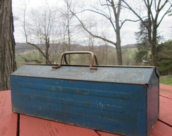 Large Vintage Rusty Blue Metal Tool Box With RemovableTote - Industrial Decor
