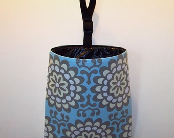Car Litter Bag // Auto Trash Bag // Auto Litter Bag // Stay Open Design! // Amy Butler Wall Flower Blue