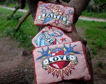 Set of three Tattoos - large cross stitch kits