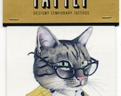 Cat Temporary Tattoos - Stocking Stuffer - Cat tattoo - Tattly - Animal Portraits - Animals in Suits - Ryan Berkley Illustration