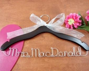 Custom Mrs Hanger - Hanger with Names - Unique Name Hanger - Original Hanger - Future Mrs - Mrs Last Name Hanger - Personalize - Bride
