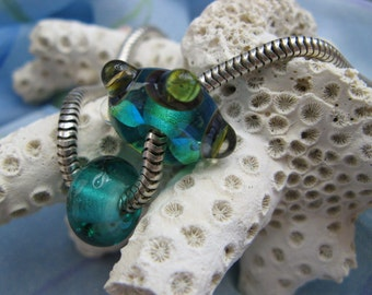 BHB Underwater Bumpy Teal Blues and Greens set of 2 big hole beads