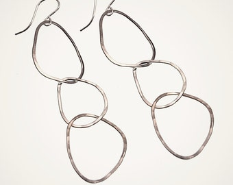 triple linked hoop earrings, handmade hammered sterling silver hoops
